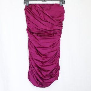Express Magenta Ruched Strapless Mini Dress size 6
